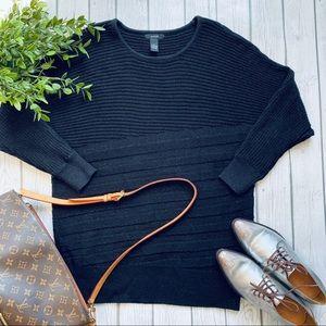 Alfani Metallic Black Ribbed Metallic Knit Sweater